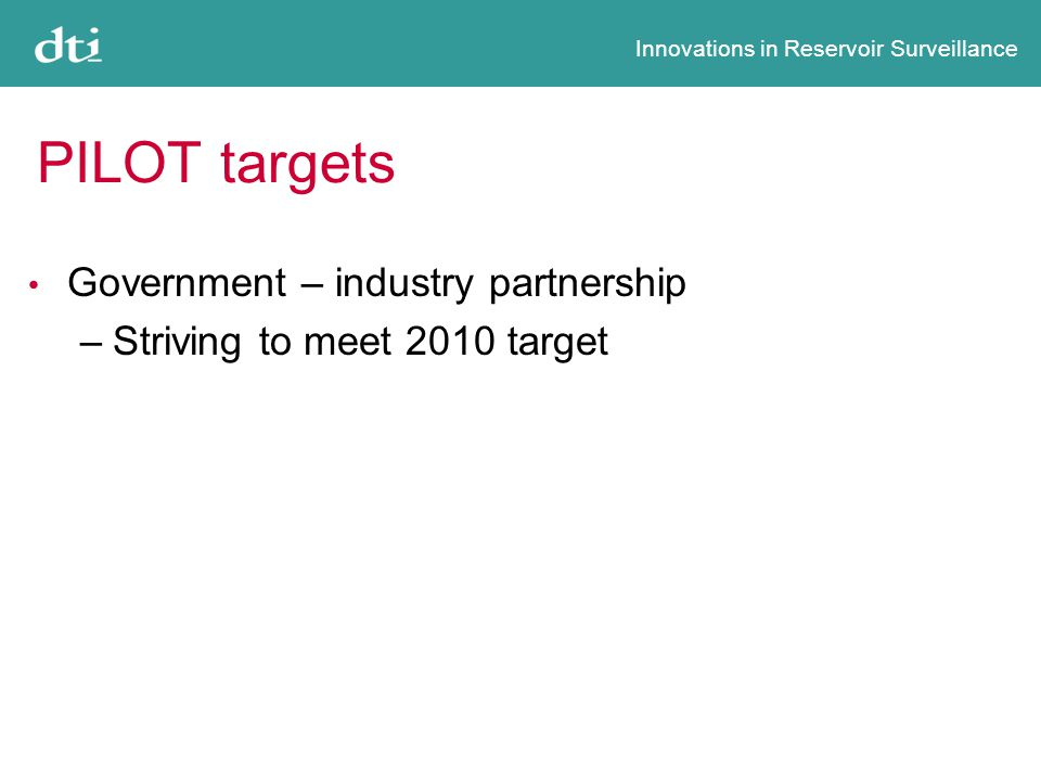 Innovations in Reservoir Surveillance PILOT targets Government – industry partnership –Striving to meet 2010 target