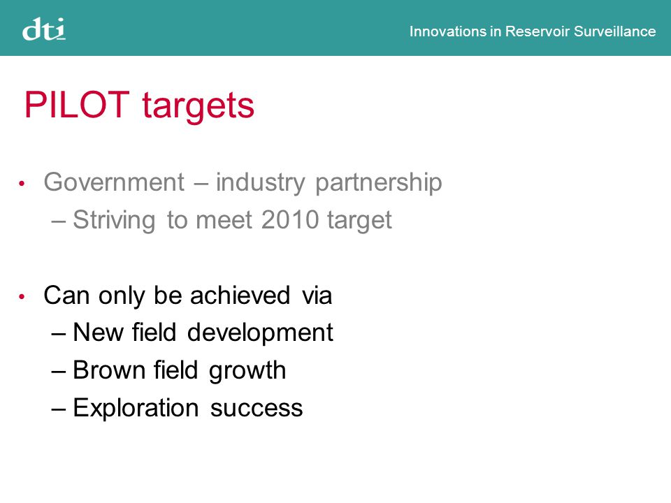 Innovations in Reservoir Surveillance PILOT targets Government – industry partnership –Striving to meet 2010 target Can only be achieved via –New field development –Brown field growth –Exploration success