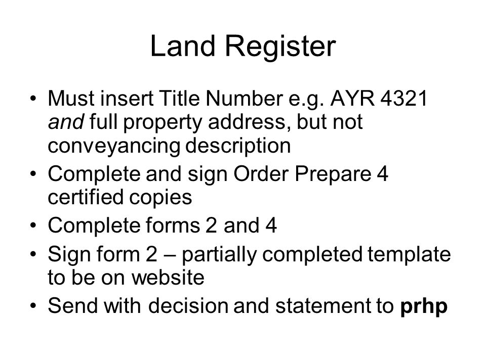 Land Register Must insert Title Number e.g.