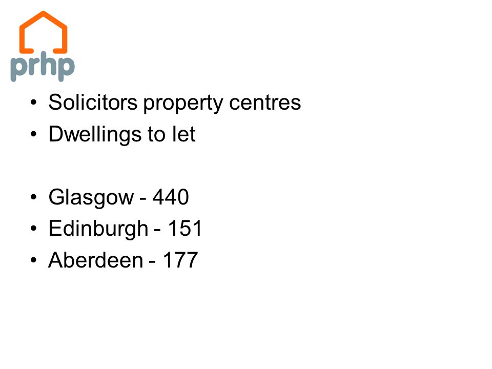 Solicitors property centres Dwellings to let Glasgow - 440 Edinburgh - 151 Aberdeen - 177