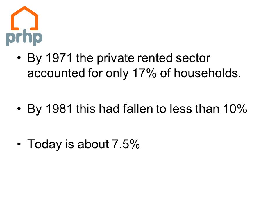 By 1971 the private rented sector accounted for only 17% of households.
