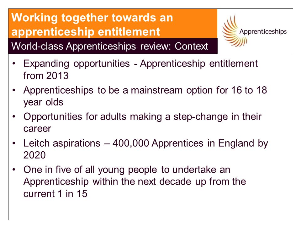 Expanding opportunities - Apprenticeship entitlement from 2013 Apprenticeships to be a mainstream option for 16 to 18 year olds Opportunities for adul