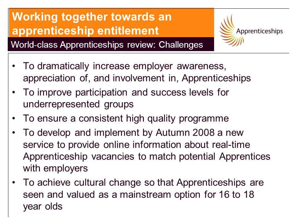 To dramatically increase employer awareness, appreciation of, and involvement in, Apprenticeships To improve participation and success levels for underrepresented groups To ensure a consistent high quality programme To develop and implement by Autumn 2008 a new service to provide online information about real-time Apprenticeship vacancies to match potential Apprentices with employers To achieve cultural change so that Apprenticeships are seen and valued as a mainstream option for 16 to 18 year olds Working together towards an apprenticeship entitlement World-class Apprenticeships review: Challenges