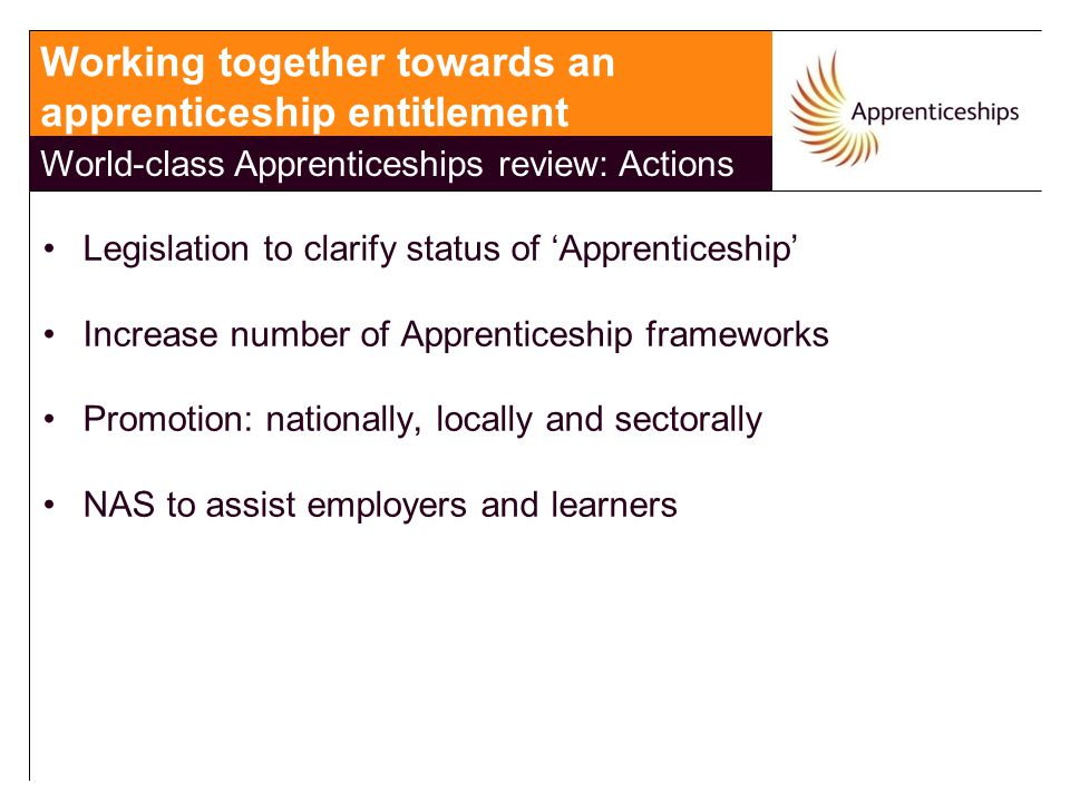 Legislation to clarify status of 'Apprenticeship' Increase number of Apprenticeship frameworks Promotion: nationally, locally and sectorally NAS to as