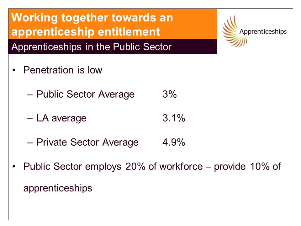 Penetration is low –Public Sector Average 3% –LA average 3.1% –Private Sector Average 4.9% Public Sector employs 20% of workforce – provide 10% of apprenticeships Working together towards an apprenticeship entitlement Apprenticeships in the Public Sector
