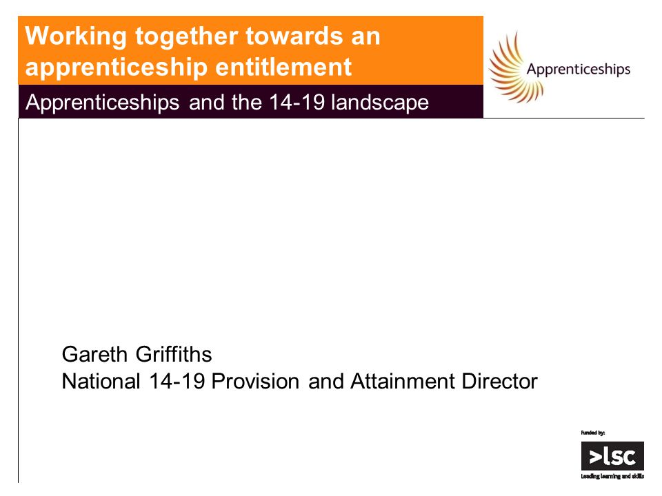Apprenticeships and the 14-19 landscape Gareth Griffiths National 14-19 Provision and Attainment Director