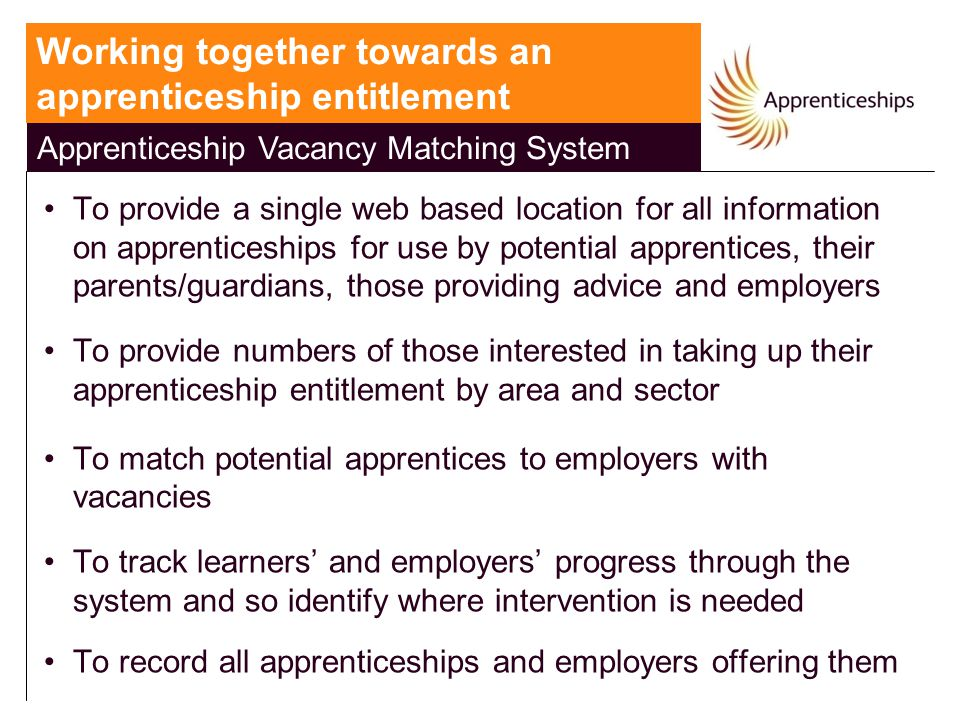 Apprenticeship Vacancy Matching System To provide a single web based location for all information on apprenticeships for use by potential apprentices, their parents/guardians, those providing advice and employers To provide numbers of those interested in taking up their apprenticeship entitlement by area and sector To match potential apprentices to employers with vacancies To track learners' and employers' progress through the system and so identify where intervention is needed To record all apprenticeships and employers offering them Working together towards an apprenticeship entitlement Apprenticeship Vacancy Matching System