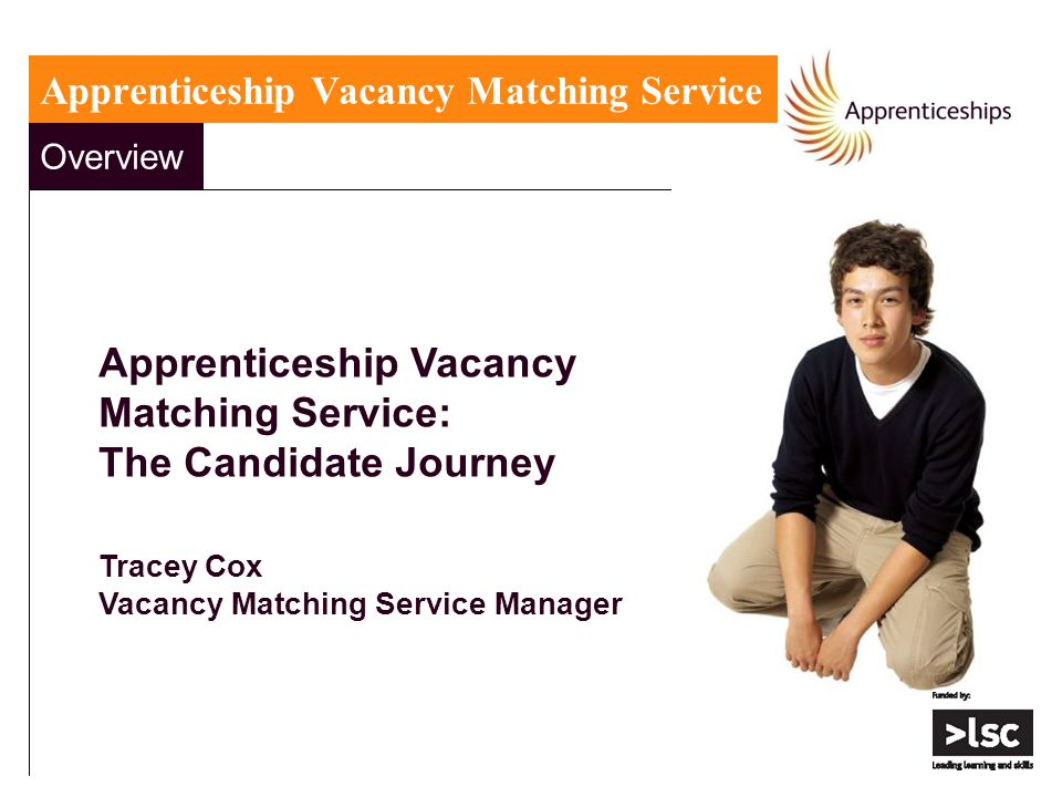 Overview Apprenticeship Vacancy Matching Service: The Candidate Journey Tracey Cox Vacancy Matching Service Manager Apprenticeship Vacancy Matching Se