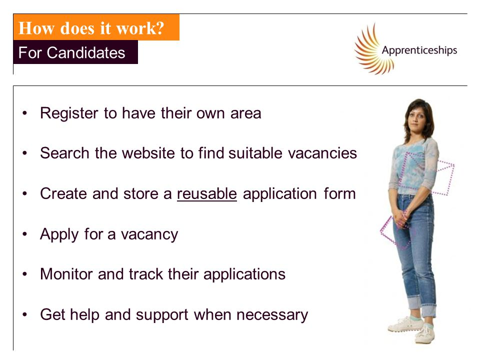 Register to have their own area Search the website to find suitable vacancies Create and store a reusable application form Apply for a vacancy Monitor