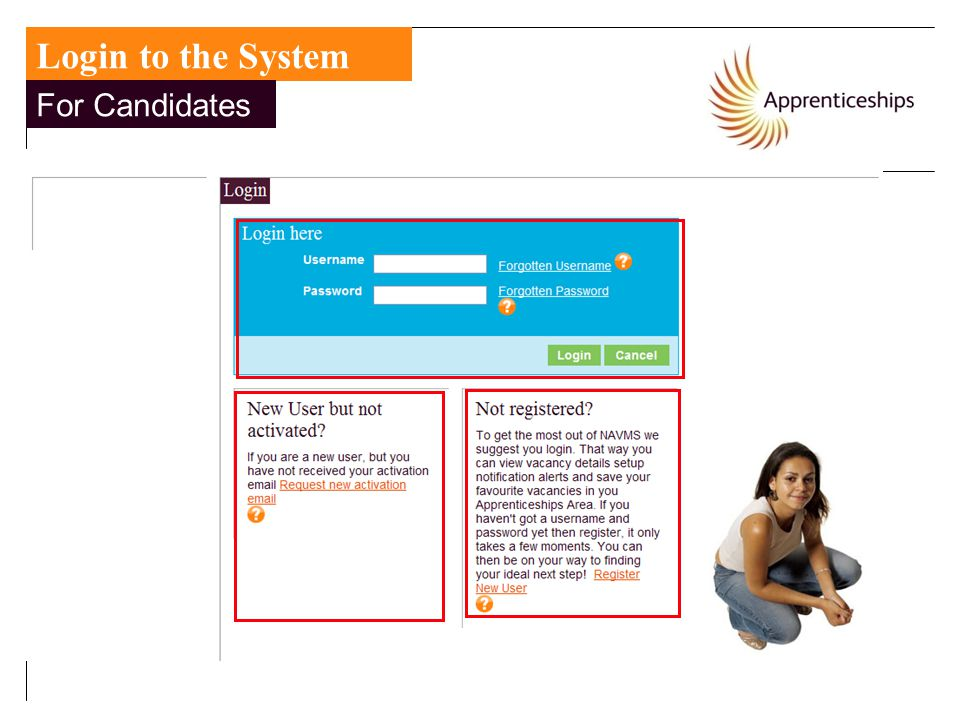 Login to the System For Candidates