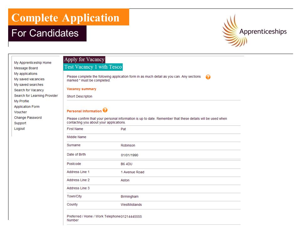 For Candidates Complete Application