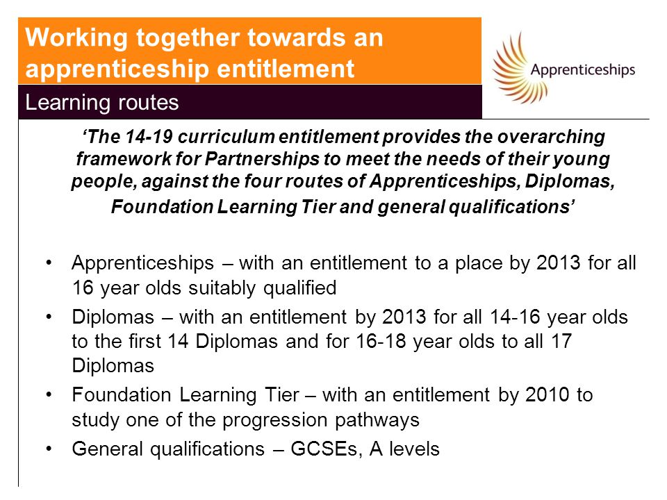 'The 14-19 curriculum entitlement provides the overarching framework for Partnerships to meet the needs of their young people, against the four routes of Apprenticeships, Diplomas, Foundation Learning Tier and general qualifications' Apprenticeships – with an entitlement to a place by 2013 for all 16 year olds suitably qualified Diplomas – with an entitlement by 2013 for all 14-16 year olds to the first 14 Diplomas and for 16-18 year olds to all 17 Diplomas Foundation Learning Tier – with an entitlement by 2010 to study one of the progression pathways General qualifications – GCSEs, A levels Working together towards an apprenticeship entitlement Learning routes