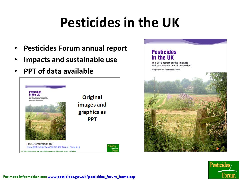 For more information see: www.pesticides.gov.uk/pesticides_forum_home.aspwww.pesticides.gov.uk/pesticides_forum_home.asp Pesticides in the UK Pesticides Forum annual report Impacts and sustainable use PPT of data available