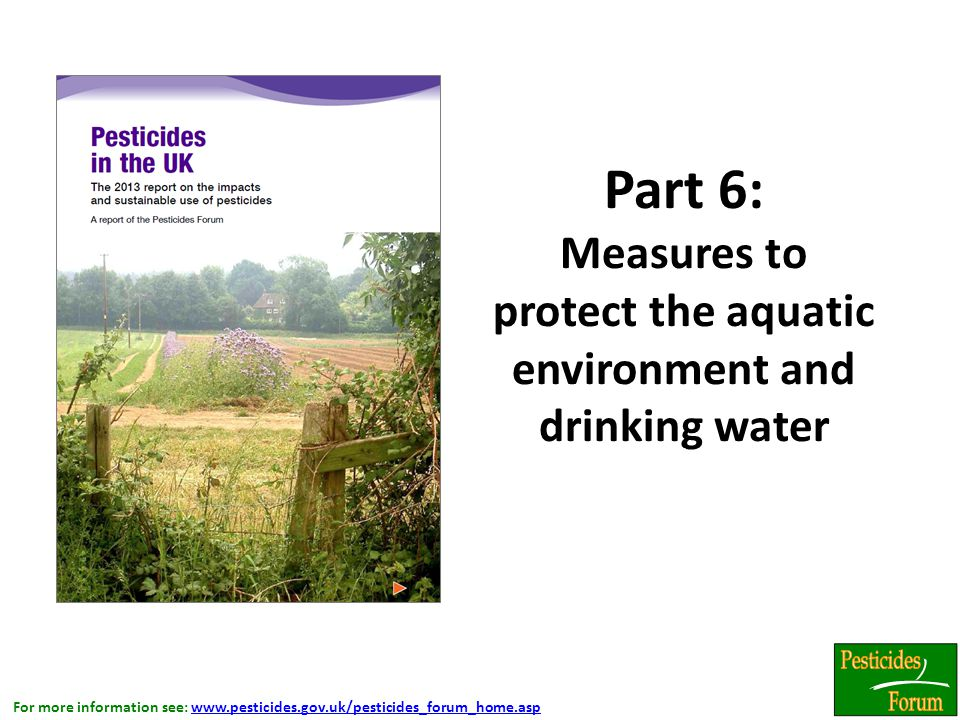 For more information see: www.pesticides.gov.uk/pesticides_forum_home.aspwww.pesticides.gov.uk/pesticides_forum_home.asp Part 6: Measures to protect the aquatic environment and drinking water.