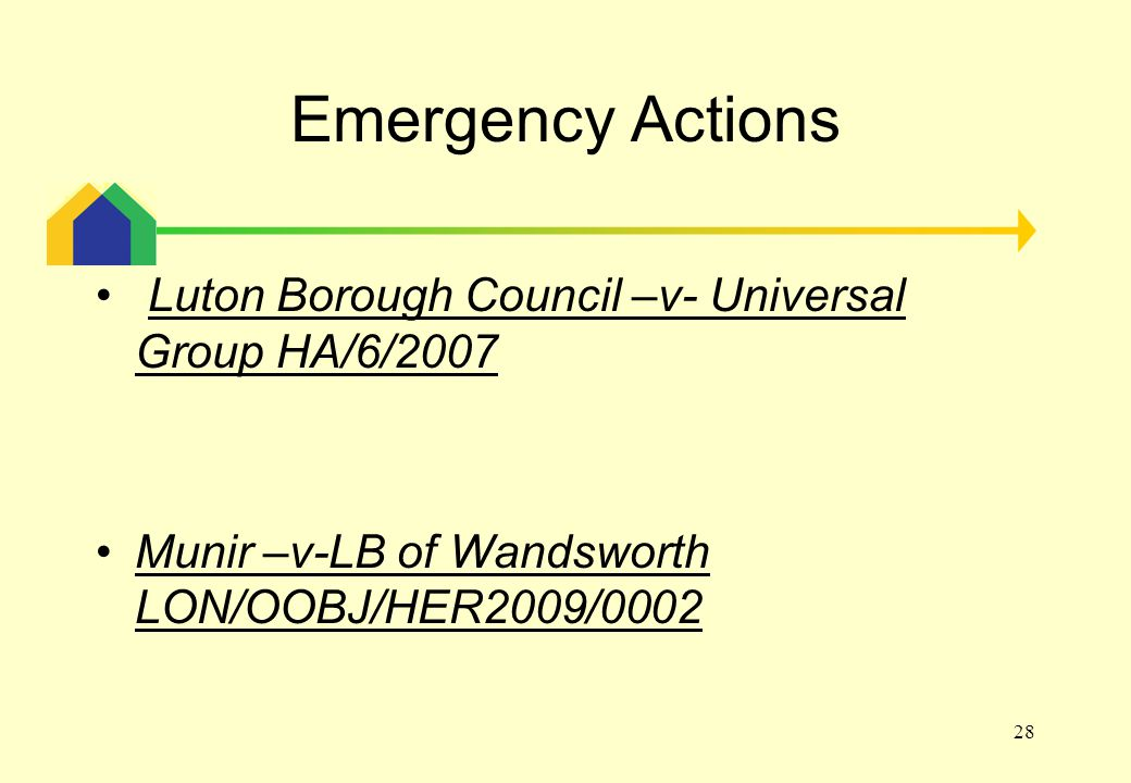 28 Emergency Actions Luton Borough Council –v- Universal Group HA/6/2007 Munir –v-LB of Wandsworth LON/OOBJ/HER2009/0002