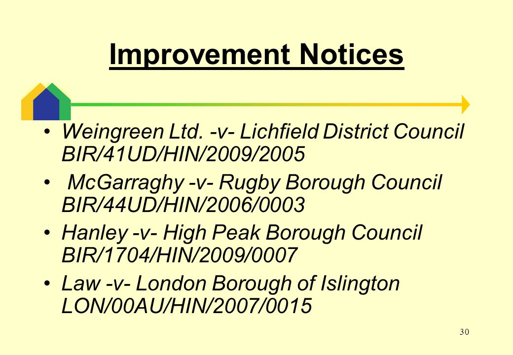 30 Improvement Notices Weingreen Ltd.