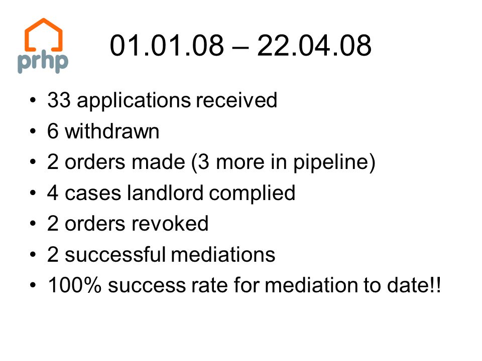 01.01.08 – 22.04.08 33 applications received 6 withdrawn 2 orders made (3 more in pipeline) 4 cases landlord complied 2 orders revoked 2 successful mediations 100% success rate for mediation to date!!