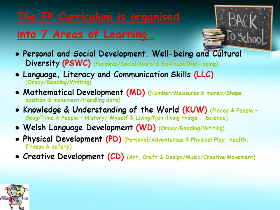 The FP Curriculum is organised into 7 Areas of Learning… ● Personal and Social Development.