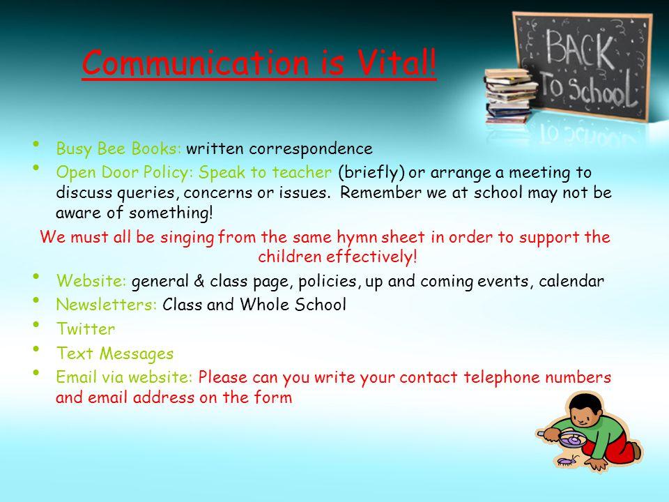Communication is Vital.