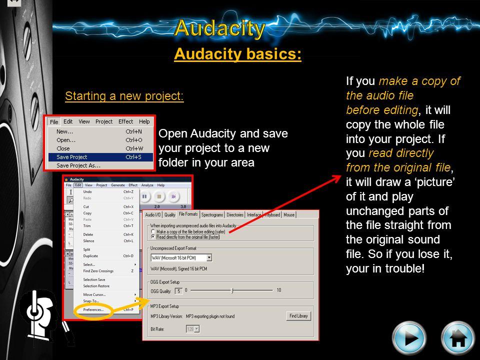 Importing audio clips: Audacity basics: 1.