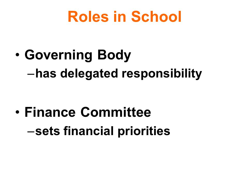 Roles in School Governing Body –has delegated responsibility Finance Committee –sets financial priorities
