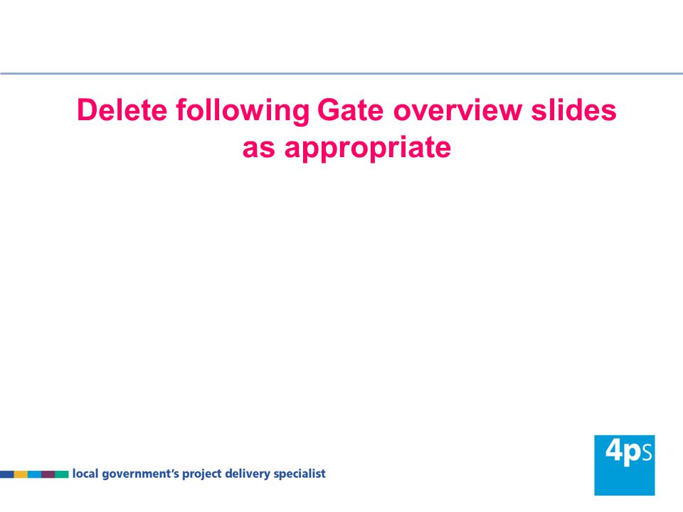 Delete following Gate overview slides as appropriate