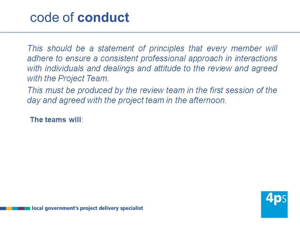 The teams will: This should be a statement of principles that every member will adhere to ensure a consistent professional approach in interactions with individuals and dealings and attitude to the review and agreed with the Project Team.