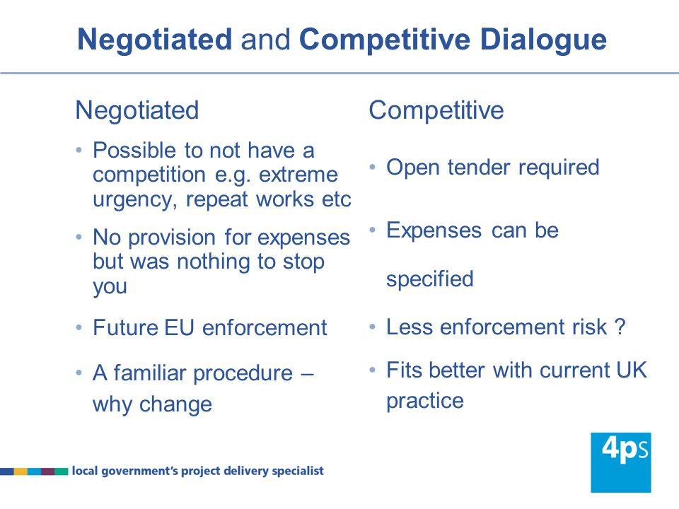 Negotiated and Competitive Dialogue (old) Negotiated Ability to negotiate Negotiation subject to equal treatment etc Successive stages – partly a creation Choice of MEAT or lowest price Competitive Ability to negotiate and refine up to call for tenders Negotiation subject to equal treatment etc Successive stages – overt Must use MEAT