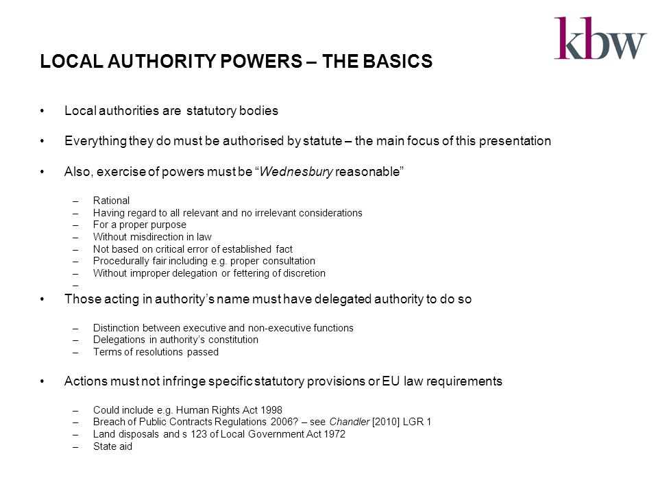 SOME BROAD CONCLUSIONS Well-being power likely to be sufficient for joint ventures where aiming at some direct benefit beyond the merely financial Where aim is financial advantage, section 95 will work for trading joint ventures Issues to think about in relation to joint ventures What is the power to form/participate.