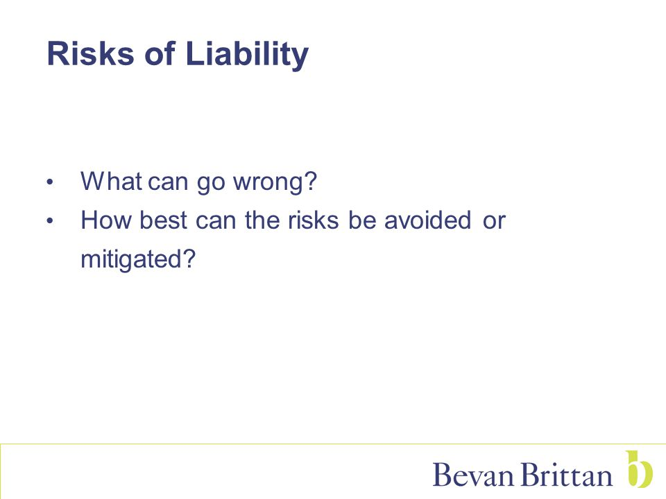 Risks of Liability What can go wrong? How best can the risks be avoided or mitigated?