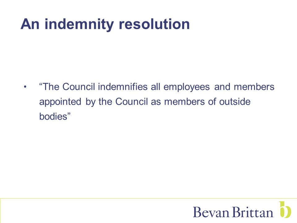 """An indemnity resolution """"The Council indemnifies all employees and members appointed by the Council as members of outside bodies"""""""