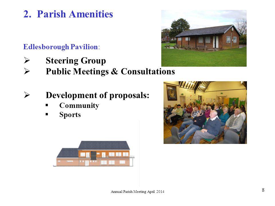 Annual Parish Meeting April 2014 8 Edlesborough Pavilion:  Steering Group  Public Meetings & Consultations  Development of proposals:  Community  Sports 2.
