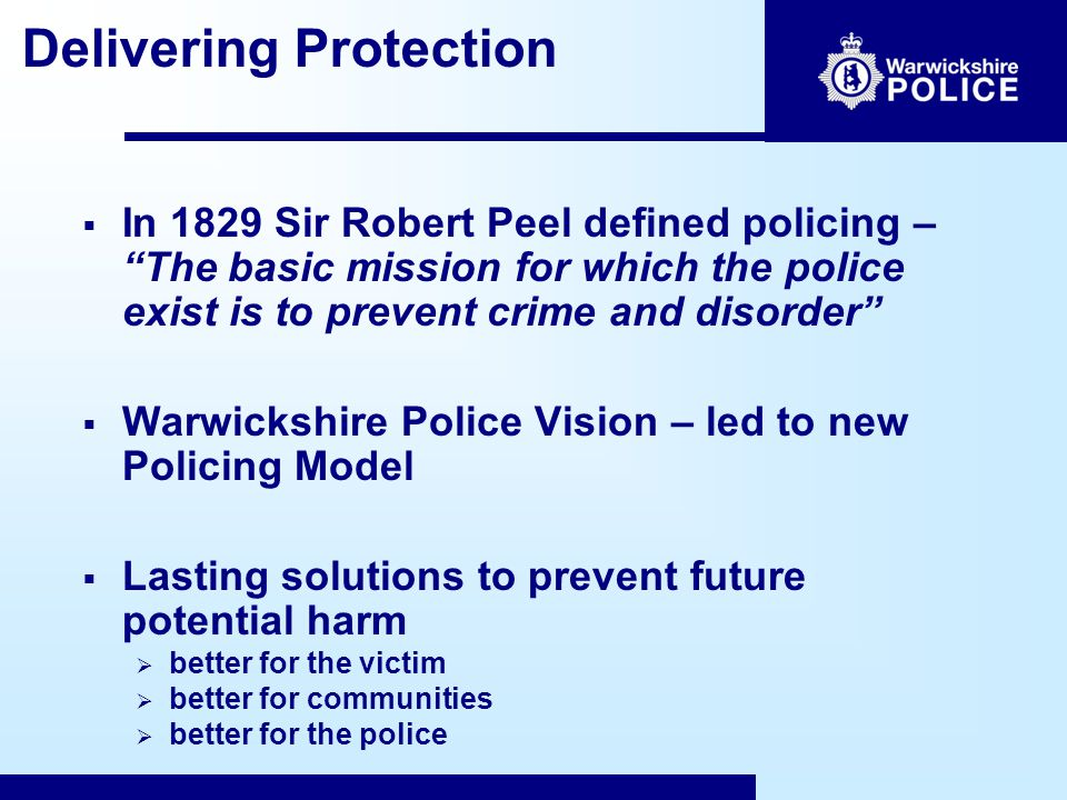 Foundations for Delivery  A focus on protection: Our Vision.