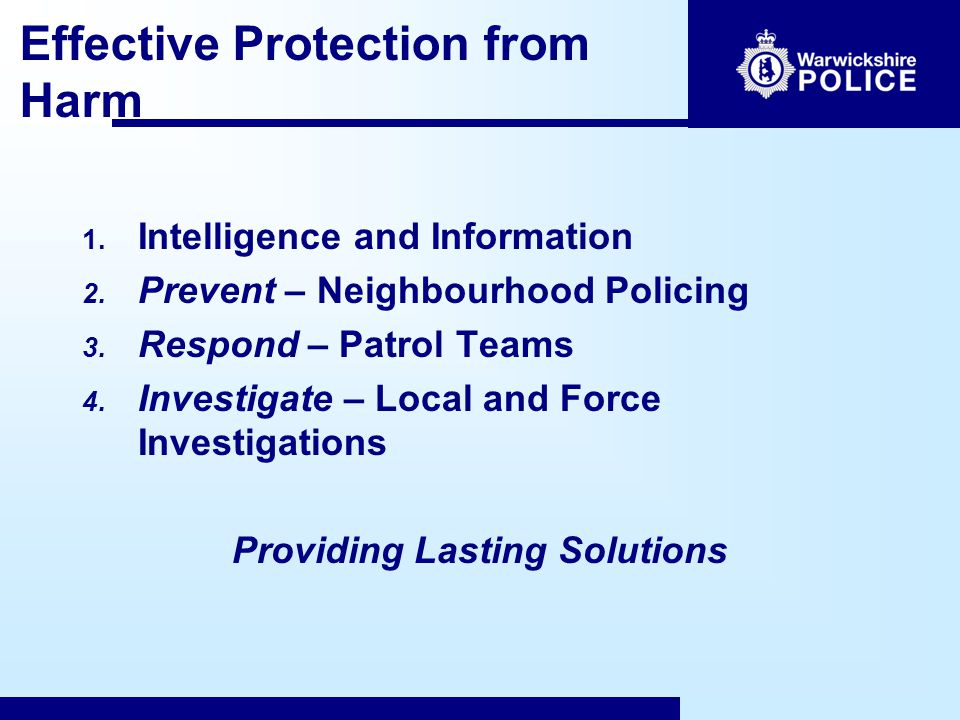 Effective Protection from Harm 1. Intelligence and Information 2.