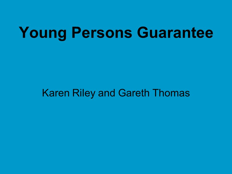 Young Persons Guarantee A guarantee of a 'job' or up to 6 months training for those 18-24 year olds reaching 12 months of unemployment Budget 09 Announcement Full guarantee to be in place by January 2010 – elements by October 2009