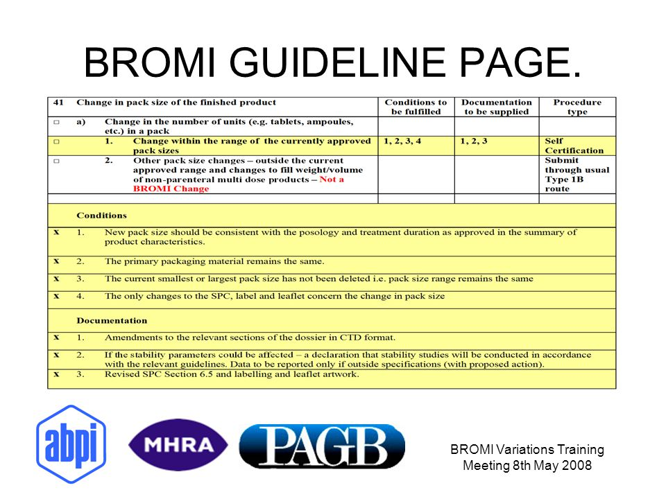 BROMI Variations Training Meeting 8th May 2008 BROMI GUIDELINE PAGE.
