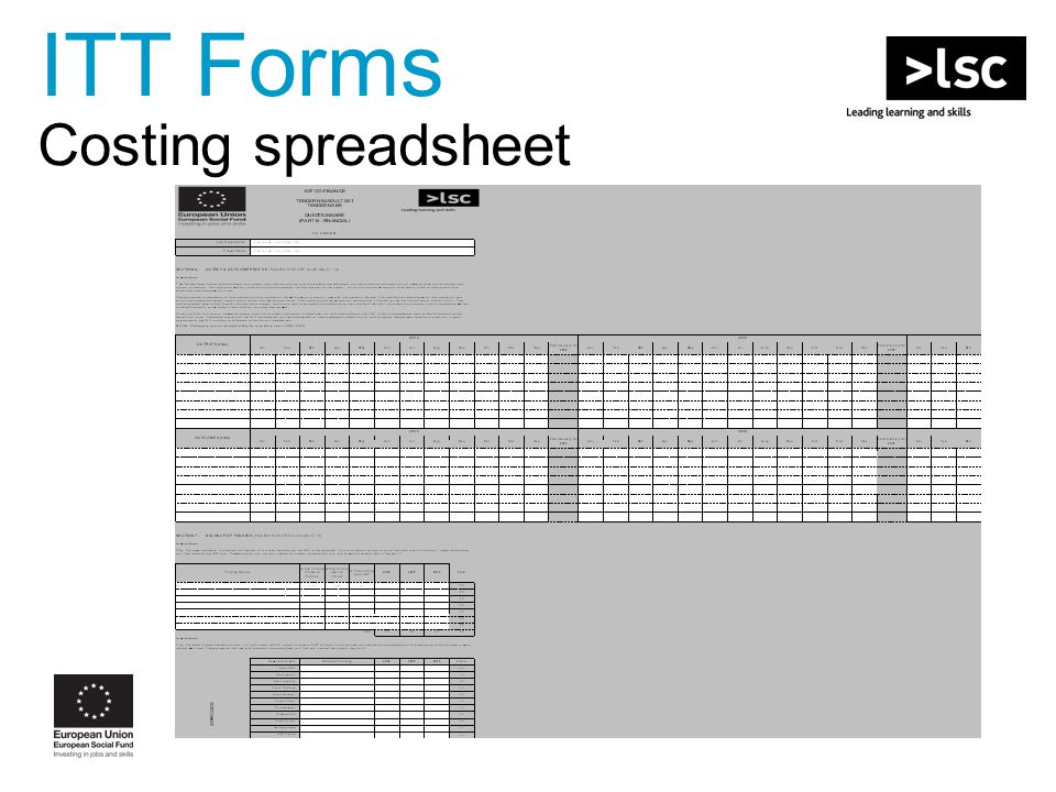 Costing spreadsheet ITT Forms