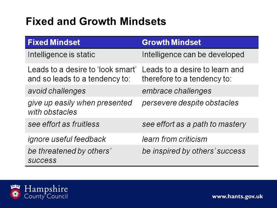 Fixed and Growth Mindsets Fixed MindsetGrowth Mindset Intelligence is staticIntelligence can be developed Leads to a desire to 'look smart' and so leads to a tendency to: Leads to a desire to learn and therefore to a tendency to: avoid challengesembrace challenges give up easily when presented with obstacles persevere despite obstacles see effort as fruitlesssee effort as a path to mastery ignore useful feedbacklearn from criticism be threatened by others' success be inspired by others' success