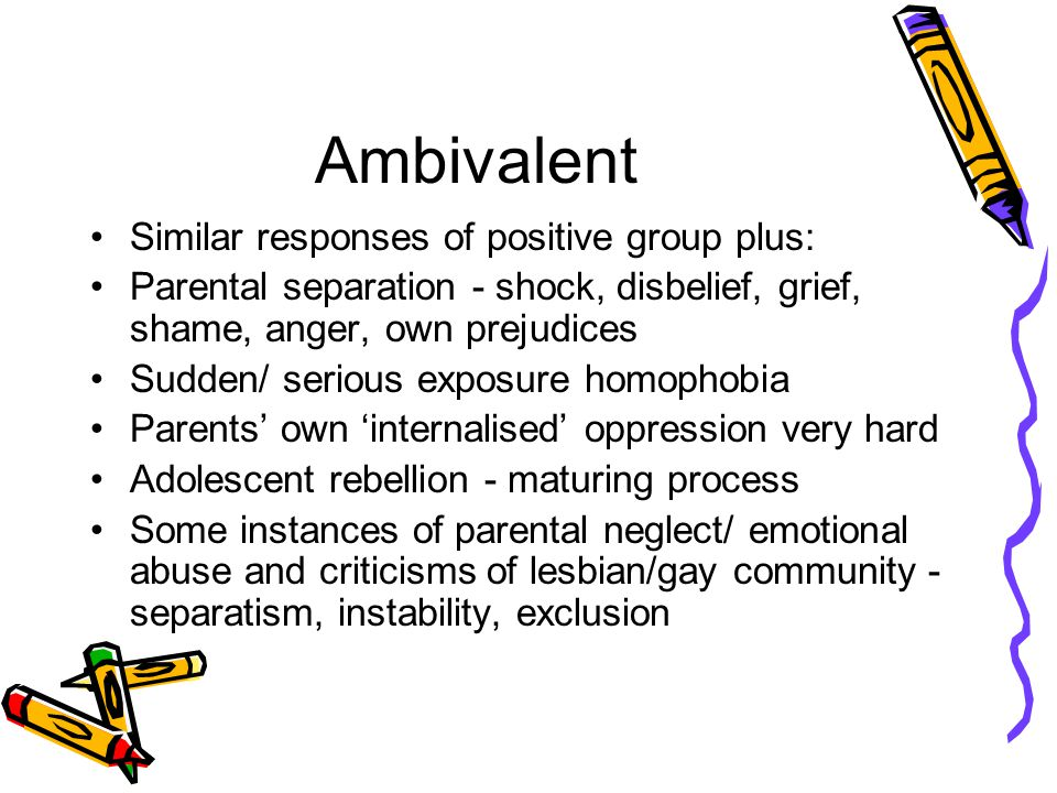 Ambivalent Similar responses of positive group plus: Parental separation - shock, disbelief, grief, shame, anger, own prejudices Sudden/ serious exposure homophobia Parents' own 'internalised' oppression very hard Adolescent rebellion - maturing process Some instances of parental neglect/ emotional abuse and criticisms of lesbian/gay community - separatism, instability, exclusion