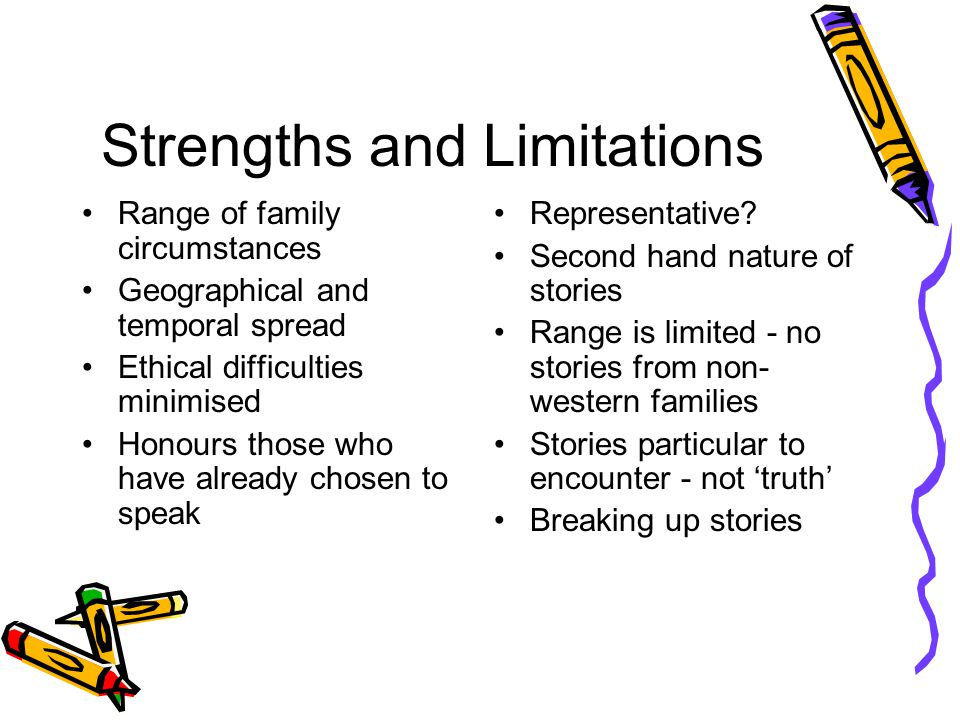 Strengths and Limitations Range of family circumstances Geographical and temporal spread Ethical difficulties minimised Honours those who have already chosen to speak Representative.