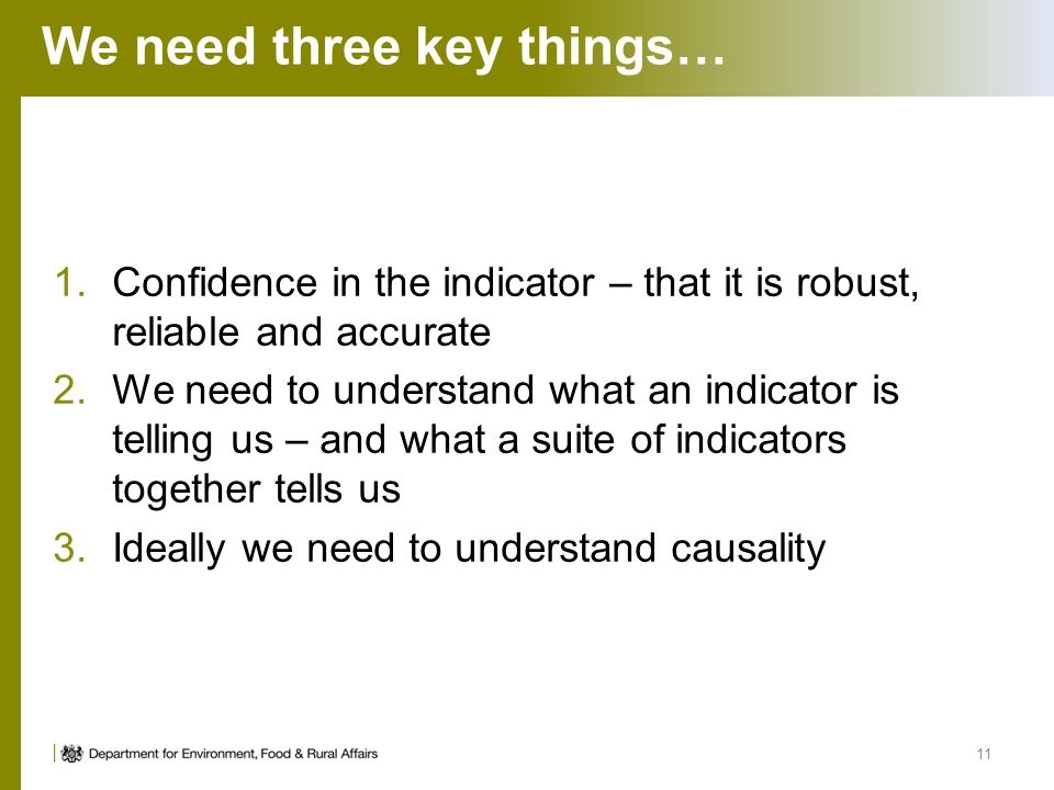 1.Confidence in the indicator – that it is robust, reliable and accurate 2.We need to understand what an indicator is telling us – and what a suite of