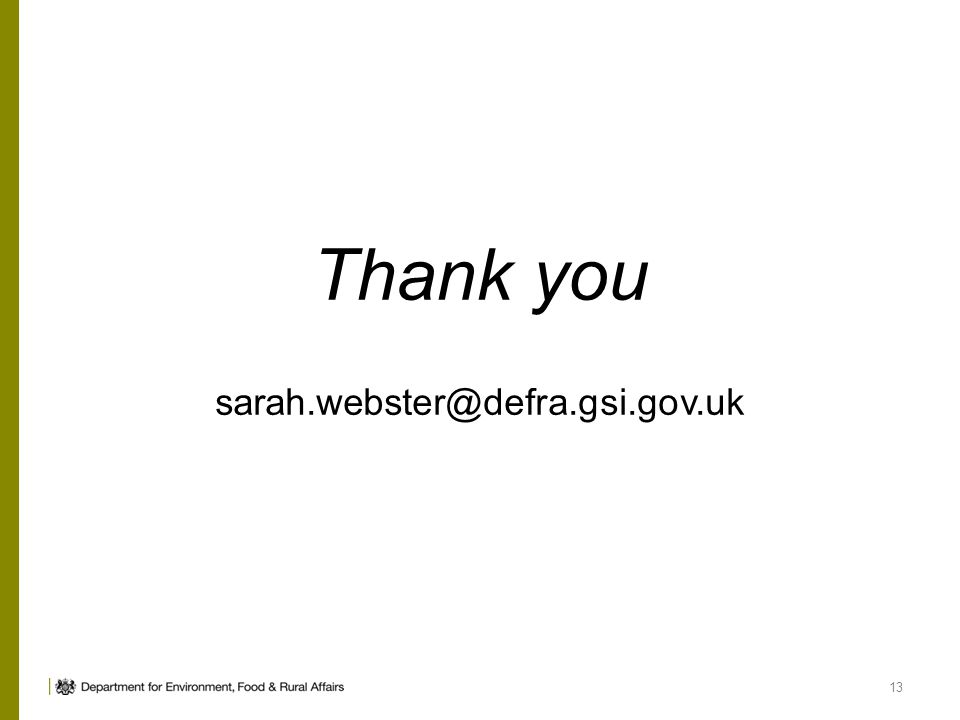 Thank you sarah.webster@defra.gsi.gov.uk 13