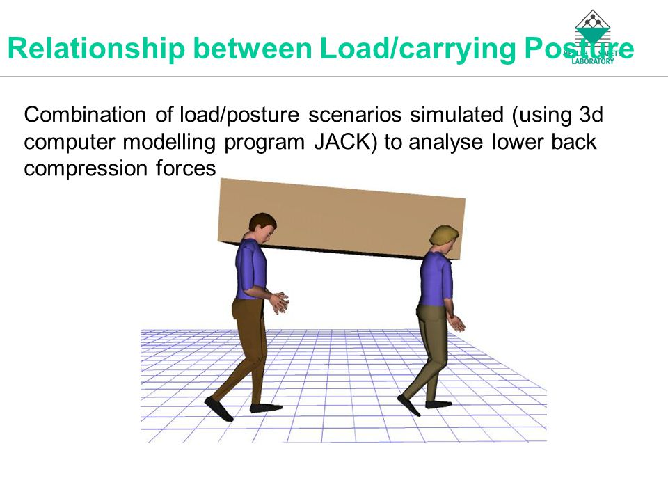 An Agency of the Health and Safety Executive Relationship between Load/carrying Posture Combination of load/posture scenarios simulated (using 3d computer modelling program JACK) to analyse lower back compression forces