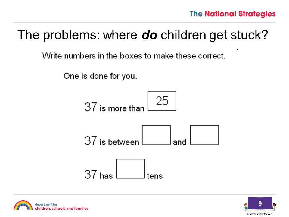© Crown copyright 2010 The problems: where do children get stuck? 9