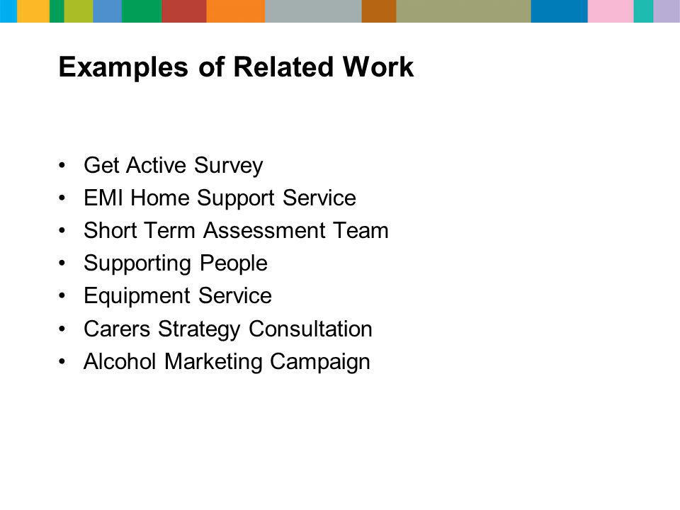 Examples of Related Work Get Active Survey EMI Home Support Service Short Term Assessment Team Supporting People Equipment Service Carers Strategy Consultation Alcohol Marketing Campaign