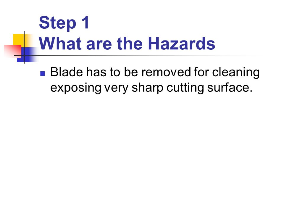 Step 1 What are the Hazards Blade has to be removed for cleaning exposing very sharp cutting surface.