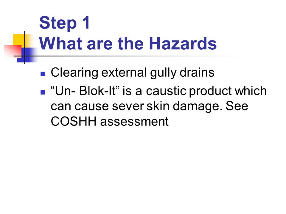 Step 1 What are the Hazards Clearing external gully drains Un- Blok-It is a caustic product which can cause sever skin damage.