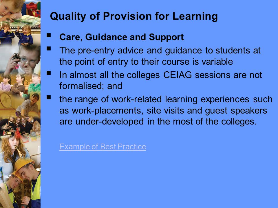  Care, Guidance and Support  The pre-entry advice and guidance to students at the point of entry to their course is variable  In almost all the colleges CEIAG sessions are not formalised; and  the range of work-related learning experiences such as work-placements, site visits and guest speakers are under-developed in the most of the colleges.
