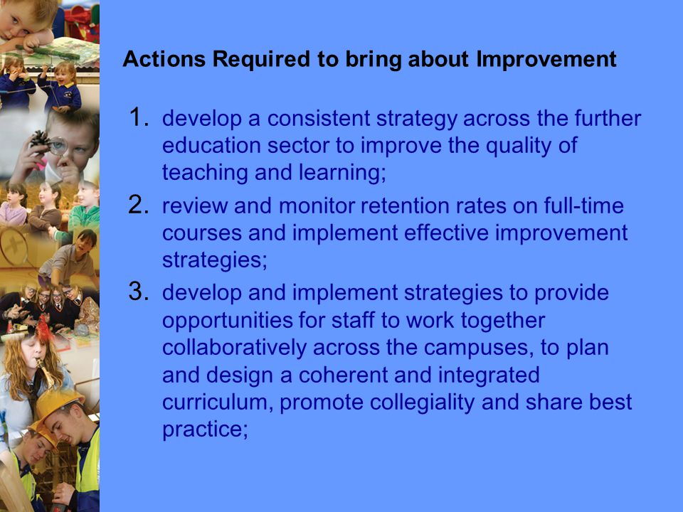 Actions Required to bring about Improvement 1.