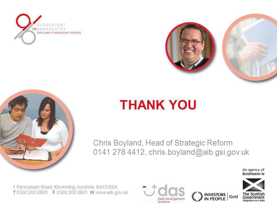 Chris Boyland, Head of Strategic Reform 0141 278 4412, chris.boyland@aib.gsi.gov.uk 1 Pennyburn Road, Kilwinning, Ayrshire, KA13 6SA T 0300 200 2600 F